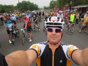 Half the starting crowd for the 100 mile Gran Fondo.  The other half are in front of me.  It's a  small ride in its 2nd year.
