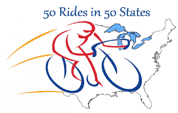 The newly created logo for 50 Rides in 50 States
